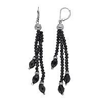 Napier Black Beaded Tassel Nickel Free Drop Earrings