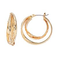 Napier Textured Crisscross Nickel Free Double Hoop Earrings