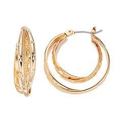 Napier Textured Crisscross Double Hoop Earrings