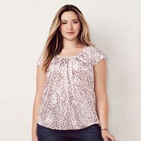 Plus Size LC Lauren Conrad Velvet Pleated Top