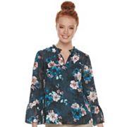 Women's ELLE™ Ruffle Floral Blouse