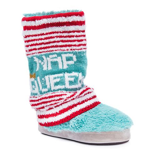 "Women's' MUK LUKS Sofia ""Nap Queen"" Striped Boot Slippers"