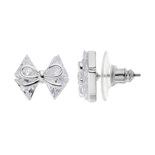 Napier Cubic Zirconia Bow Stud Earrings