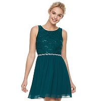 Juniors' Speechless Sequin Lace & Chiffon Party Dress