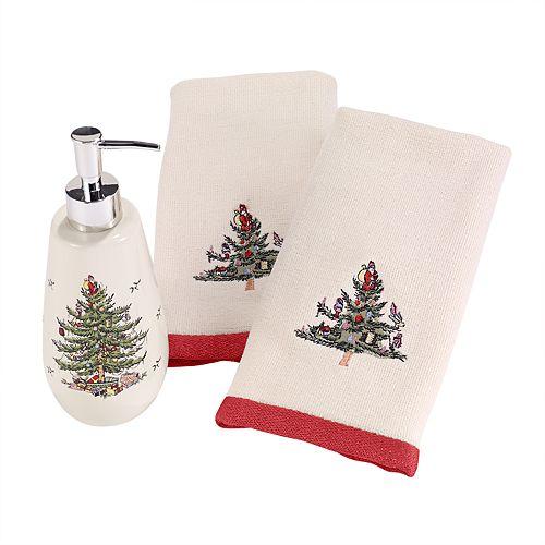 Avanti 3-piece Spode Tree Fingertip Towel & Soap Pump Set