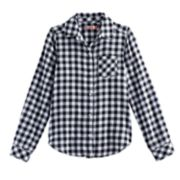 Girls 7-16 & Plus Size SO® Tie Front Plaid Button-Down Shirt
