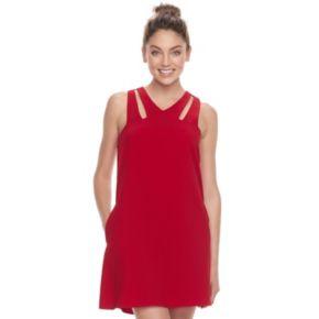 Juniors' Speechless Cutout Shoulder Swing Dress