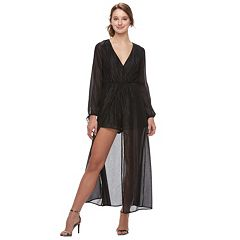Juniors' Speechless Metallic Chiffon Romper