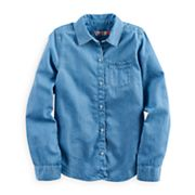 Girls 7-16 & Plus Size SO® Tie Front Chambray Button-Down Shirt