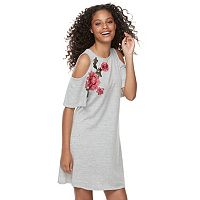 Juniors' Speechless Floral Appliqué Cold-Shoulder Dress