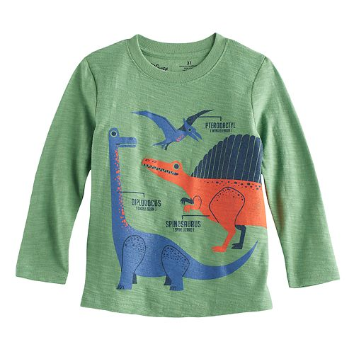 Toddler Boy Jumping Beans® Dinosaur Slubbed Long Sleeve Graphic Tee
