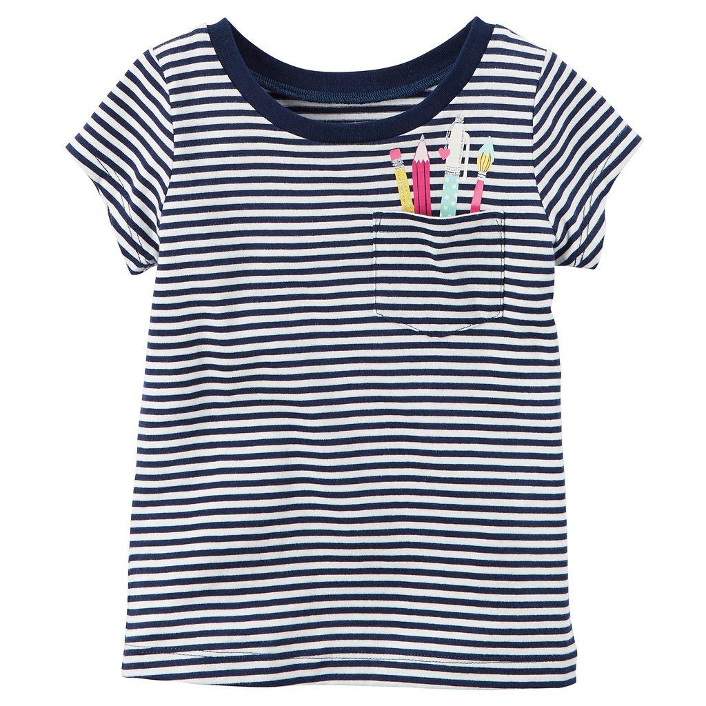 Toddler Girl Carter's Striped Graphic Pocket Short-Sleeve Tee