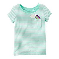 Toddler Girl Carter's Striped Graphic Pocket Short-Sleeve Tee