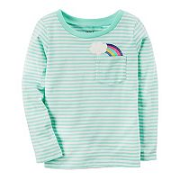 Toddler Girl Carter's Striped Graphic Pocket Long-Sleeve Tee