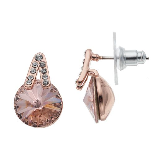 Brilliance Rose Gold Tone Drop Earrings with Swarovski Crystals