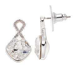 Brilliance Silver Plated Drop Earrings with Swarovski Crystals