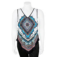 Juniors' Plus Size IZ Byer Geometric Handkerchief Tank