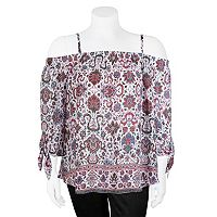 Juniors' Plus Size IZ Byer Scroll Off-the-Shoulder Top