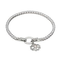 Dovetail Cubic Zirconia & Peach Glass 'Mother Friend' Flower Charm Tennis Bracelet