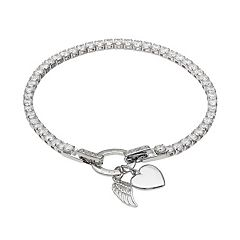 Dovetail Cubic Zirconia 'Faith Love' Angel Wing & Heart Charm Tennis Bracelet