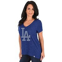 Women's Majestic Los Angeles Dodgers Check the Win Tee