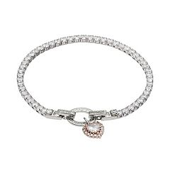 Dovetail Two Tone Cubic Zirconia 'Love You More' Heart Charm Tennis Bracelet