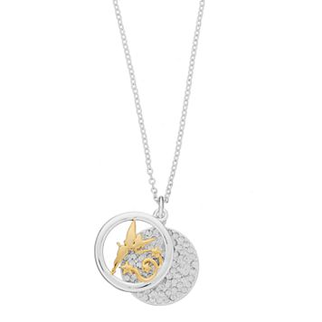 Disney's Tinker Bell Two Tone Silver Plated Pendant Necklace