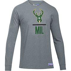 Men's Under Armour Milwaukee Bucks Charged Lockup Long-Sleeve Tee