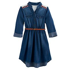 Girls 7-16 My Michelle Belted Chambray Shirtdress