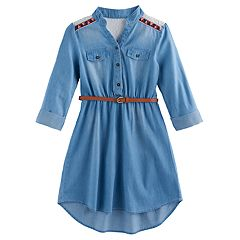 Girls 7-16 My Michelle Belted Chambray Shirtdress