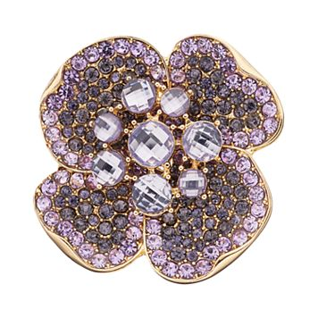 Napier Cubic Zirconia Purple Flower Pin