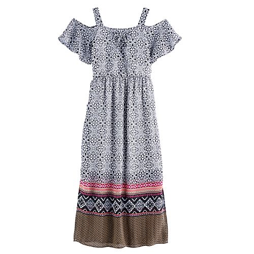 Girls 7-16 My Michelle Lace-Up Off Shoulder Maxi Dress