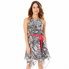 Juniors' IZ Byer Floral Handkerchief Hem Halter Dress