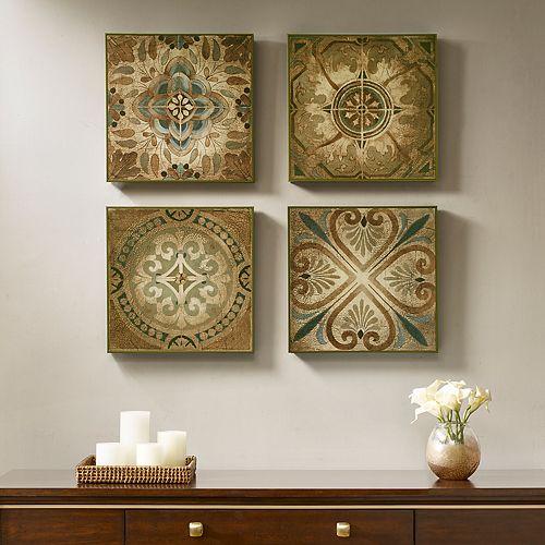 Madison Park Bella Blue Tiles Deco Box Wall Decor 4-piece Set