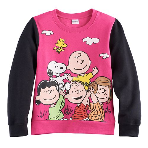 Girls 7-16 Peanuts Gang Graphic Colorblock Pullover Sweatshirt