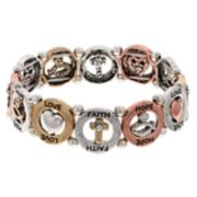 Believe In Tri Tone Love, Faith & Hope Stretch Bracelet
