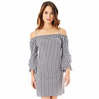 Juniors' IZ Byer Poplin Off-the-Shoulder Dress