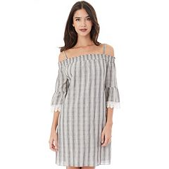 Juniors' IZ Byer Crochet Poplin Off-the-Shoulder Dress