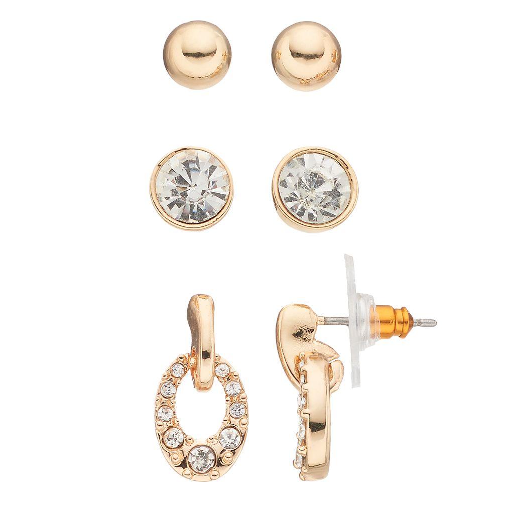 Napier Door Knocker Drop & Round Stud Earring Set
