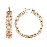 Napier Simulated Crystal Oval Link Hoop Earrings