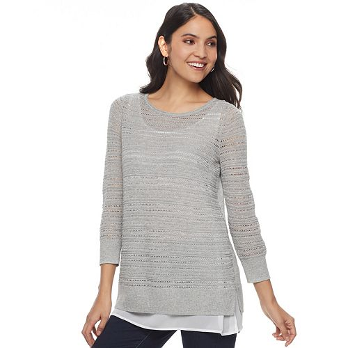 Women's Apt. 9® Layered Pointelle Sweater