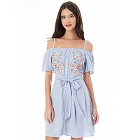 Juniors' IZ Byer Embroidered Off-the-Shoulder Poplin Dress