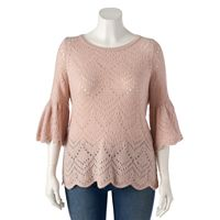 Plus Size LC Lauren Conrad Eyelet Crewneck Sweater