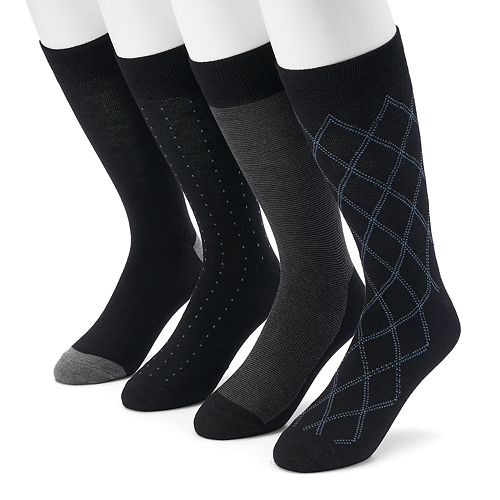 Men's Croft & Barrow® 4-pack Opticool Argyle Crew Socks