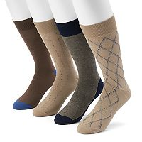 Men's Croft & Barrow® 4-pack Opticool Argyle Crew Socks