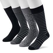 Men's Croft & Barrow® 4-pack Striped & Solid Crew Socks