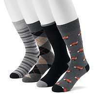 Men's Croft & Barrow® 4-pack Bicycle, Striped, Geometric & Solid Crew Socks