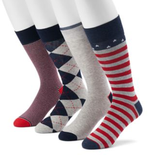 Men's Croft & Barrow® 4-pack Americana, Striped, Argyle & Solid Crew Socks