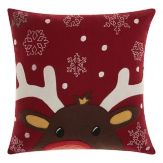 Mina Victory Home for the Holidays Felt Reindeer Throw Pillow