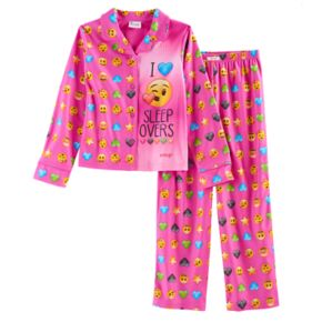Girls 6-12 Emoji Button-Up Pajama Set